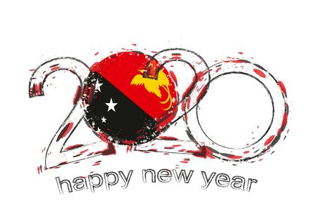 Happy New 2020 Year with flag of Papua New Guinea. Holiday grunge vector illustration.