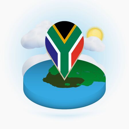 Isometric round map of South Africa and point marker with flag of South Africa. Cloud and sun on background. Isometric vector illustration.