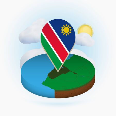 Isometric round map of Namibia and point marker with flag of Namibia. Cloud and sun on background. Isometric vector illustration.