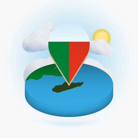 Isometric round map of Madagascar and point marker with flag of Madagascar. Cloud and sun on background. Isometric vector illustration.