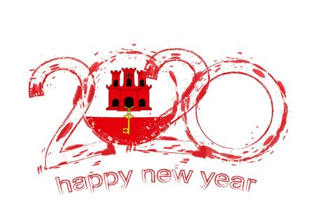 Happy New 2020 Year with flag of Gibraltar. Holiday grunge vector illustration.