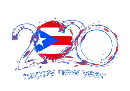 Happy New 2020 Year with flag of Puerto Rico. Holiday grunge vector illustration.