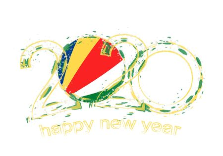 Happy New 2020 Year with flag of Seychelles. Holiday grunge vector illustration.  イラスト・ベクター素材