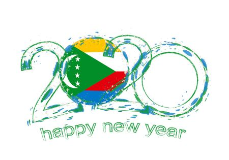 Happy New 2020 Year with flag of Comoros. Holiday grunge vector illustration.
