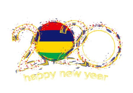Happy New 2020 Year with flag of Mauritius. Holiday grunge vector illustration.