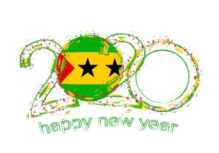 Happy New 2020 Year with flag of Sao Tome and Principe. Holiday grunge vector illustration. 写真素材 - 129675150