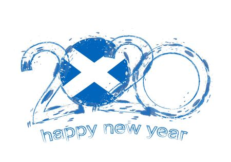 Happy New 2020 Year with flag of Scotland. Holiday grunge vector illustration. 写真素材 - 129675146