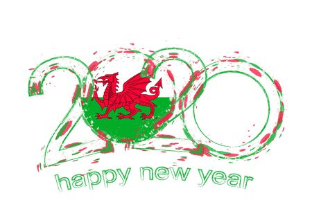 Happy New 2020 Year with flag of Wales. Holiday grunge vector illustration. 写真素材 - 129675154
