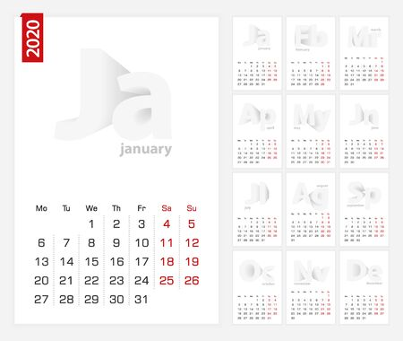 Calendar 2020 template, minimalist calendar set for 2020 year on grey background.
