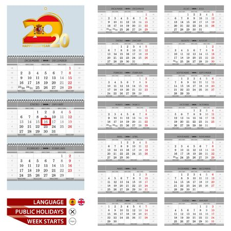 Spanish and English language calendar for 2020 year. Week starts from Monday. Ready for print. Vector Illustration.