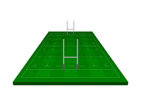 Rugby field with rugby gate, isometric vector illustration.