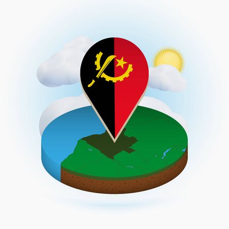 Isometric round map of Angola and point marker with flag of Angola. Cloud and sun on background. Isometric vector illustration.