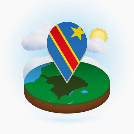 Isometric round map of DR Congo and point marker with flag of DR Congo. Cloud and sun on background. Isometric vector illustration.  イラスト・ベクター素材