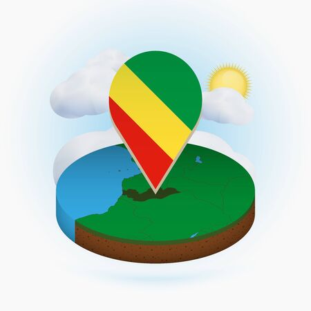 Isometric round map of Congo and point marker with flag of Congo. Cloud and sun on background. Isometric vector illustration.