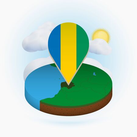 Isometric round map of Gabon and point marker with flag of Gabon. Cloud and sun on background. Isometric vector illustration.