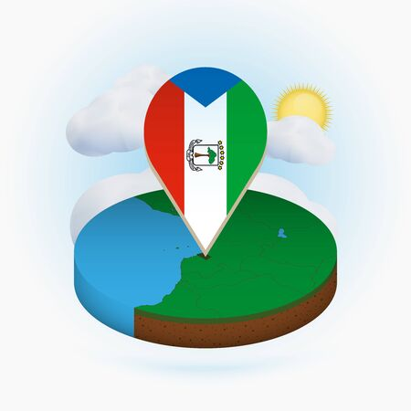 Isometric round map of Equatorial Guinea and point marker with flag of Equatorial Guinea. Cloud and sun on background. Isometric vector illustration.