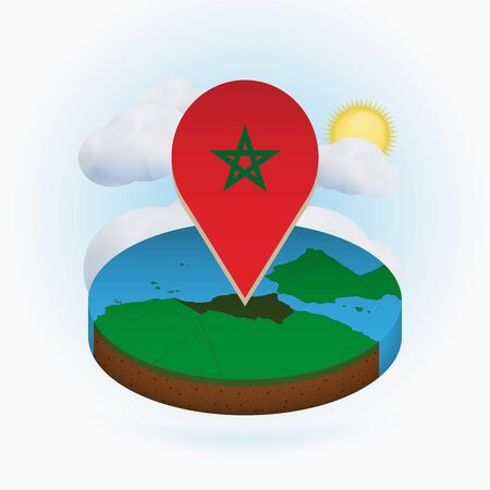 Isometric round map of Morocco and point marker with flag of Morocco. Cloud and sun on background. Isometric vector illustration. 写真素材 - 129675266