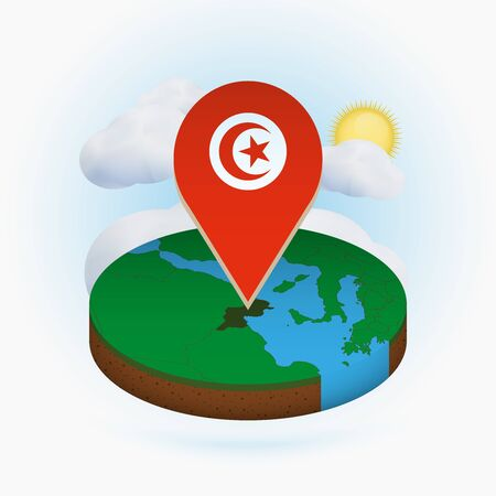 Isometric round map of Tunisia and point marker with flag of Tunisia. Cloud and sun on background. Isometric vector illustration.
