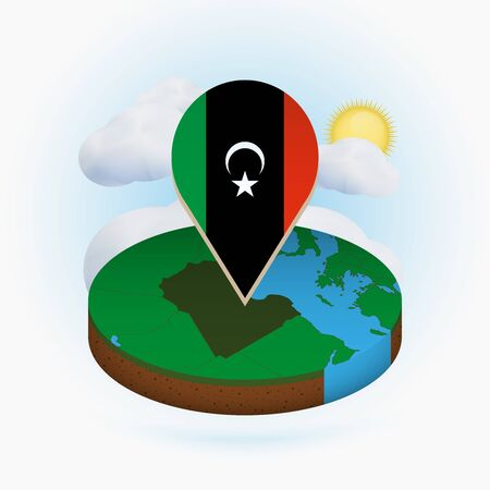 Isometric round map of Libya and point marker with flag of Libya. Cloud and sun on background. Isometric vector illustration. 写真素材 - 129675267
