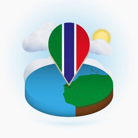 Isometric round map of Gambia and point marker with flag of Gambia. Cloud and sun on background. Isometric vector illustration.