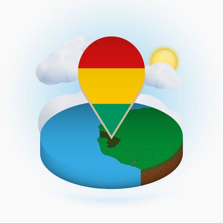 Isometric round map of Guinea and point marker with flag of Guinea. Cloud and sun on background. Isometric vector illustration.  イラスト・ベクター素材