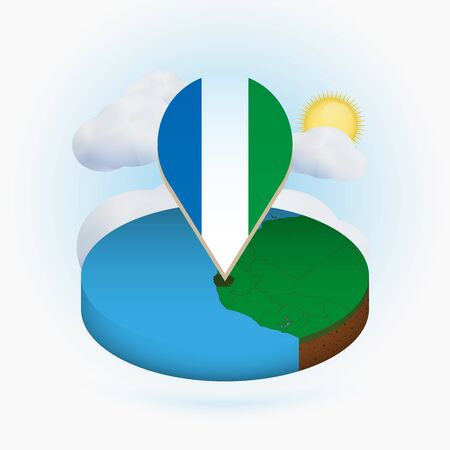 Isometric round map of Sierra Leone and point marker with flag of Sierra Leone. Cloud and sun on background. Isometric vector illustration.