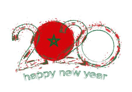 Happy New 2020 Year with flag of Morocco. Holiday grunge vector illustration.  イラスト・ベクター素材