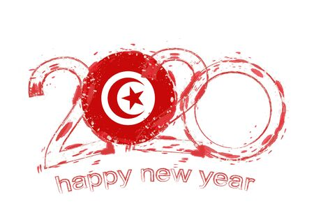 Happy New 2020 Year with flag of Tunisia. Holiday grunge vector illustration. 写真素材 - 129675275