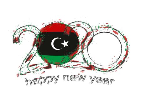 Happy New 2020 Year with flag of Libya. Holiday grunge vector illustration.