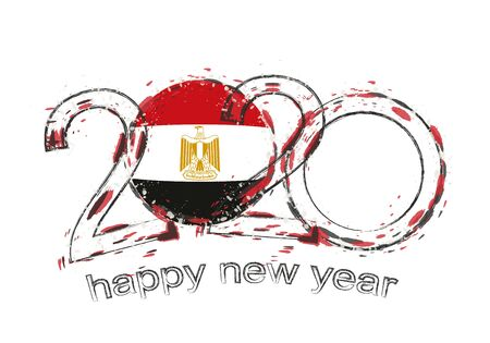 Happy New 2020 Year with flag of Egypt. Holiday grunge vector illustration. 写真素材 - 129675276