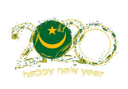 Happy New 2020 Year with flag of Mauritania. Holiday grunge vector illustration. 写真素材 - 129675277
