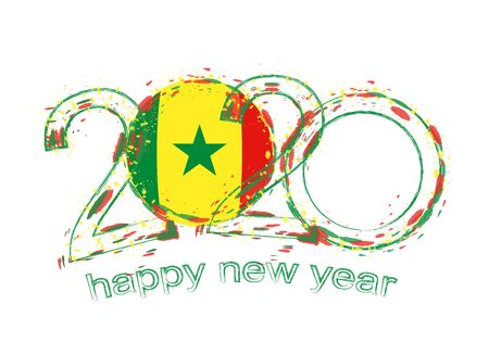 Happy New 2020 Year with flag of Senegal. Holiday grunge vector illustration. 写真素材 - 129675278