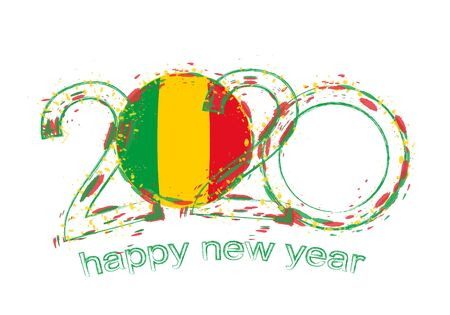 Happy New 2020 Year with flag of Mali. Holiday grunge vector illustration.