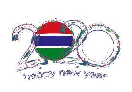 Happy New 2020 Year with flag of Gambia. Holiday grunge vector illustration. 写真素材 - 129675281