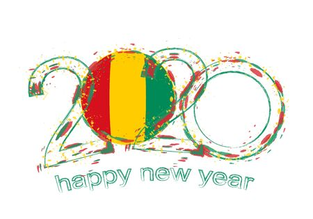 Happy New 2020 Year with flag of Guinea. Holiday grunge vector illustration. 写真素材 - 129675282