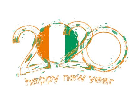 Happy New 2020 Year with flag of Ivory Coast. Holiday grunge vector illustration.