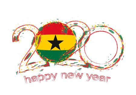 Happy New 2020 Year with flag of Ghana. Holiday grunge vector illustration. 写真素材 - 129675292
