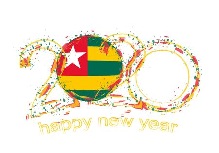 Happy New 2020 Year with flag of Togo. Holiday grunge vector illustration.  イラスト・ベクター素材