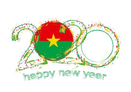 Happy New 2020 Year with flag of Burkina Faso. Holiday grunge vector illustration.  イラスト・ベクター素材