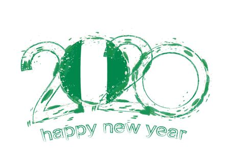 Happy New 2020 Year with flag of Nigeria. Holiday grunge vector illustration.