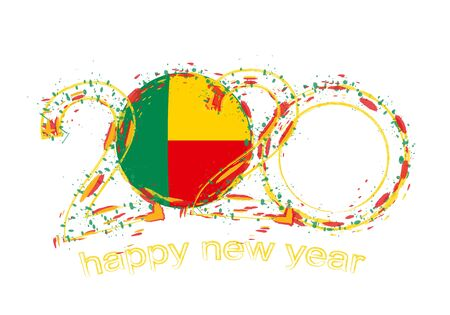 Happy New 2020 Year with flag of Benin. Holiday grunge vector illustration.  イラスト・ベクター素材