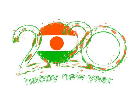 Happy New 2020 Year with flag of Niger. Holiday grunge vector illustration. 写真素材 - 129675291