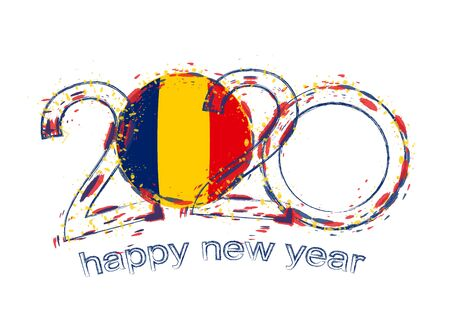 Happy New 2020 Year with flag of Chad. Holiday grunge vector illustration. 写真素材 - 129675296