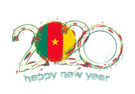 Happy New 2020 Year with flag of Cameroon. Holiday grunge vector illustration.