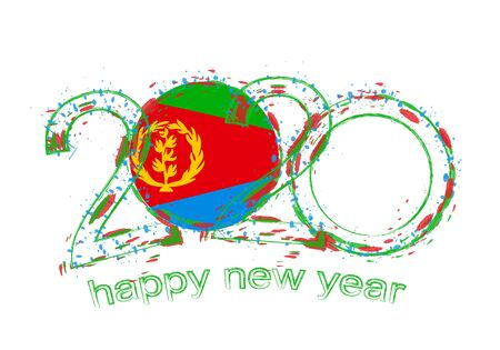 Happy New 2020 Year with flag of Eritrea. Holiday grunge vector illustration.