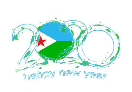 Happy New 2020 Year with flag of Djibouti. Holiday grunge vector illustration. 写真素材 - 129675295