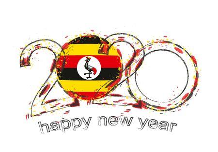 Happy New 2020 Year with flag of Uganda. Holiday grunge vector illustration.