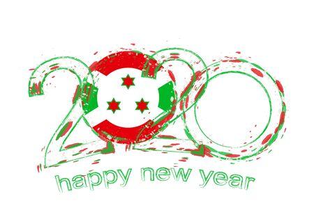 Happy New 2020 Year with flag of Burundi. Holiday grunge vector illustration.