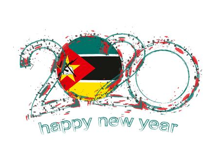 Happy New 2020 Year with flag of Mozambique. Holiday grunge vector illustration.