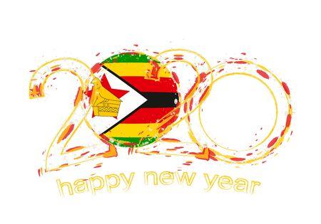 Happy New 2020 Year with flag of Zimbabwe. Holiday grunge vector illustration.